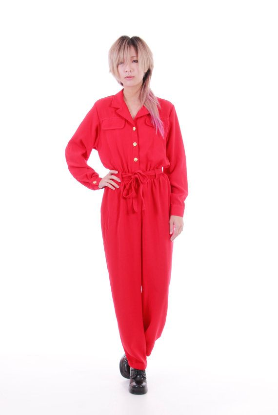 01025bde0cdf 80s Vintage Red Jumpsuit Tapered Pants Belted Slouchy Casual Fit Minimalist  New Wave Womens Clothing Size Small Medium
