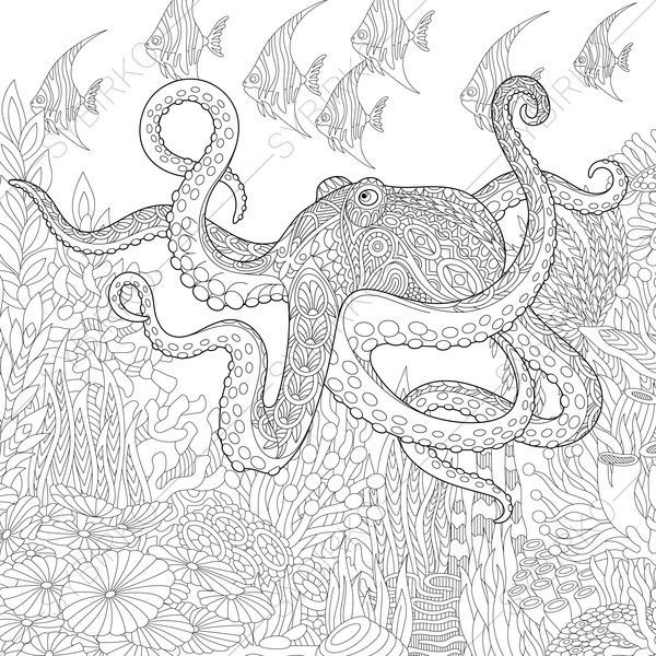Stylized Composition Of Giant Octopus Tropical Fish Underwater Seaweed And Corals Freehand Sketch For Adult Anti Stress Coloring Book Page With Doodle