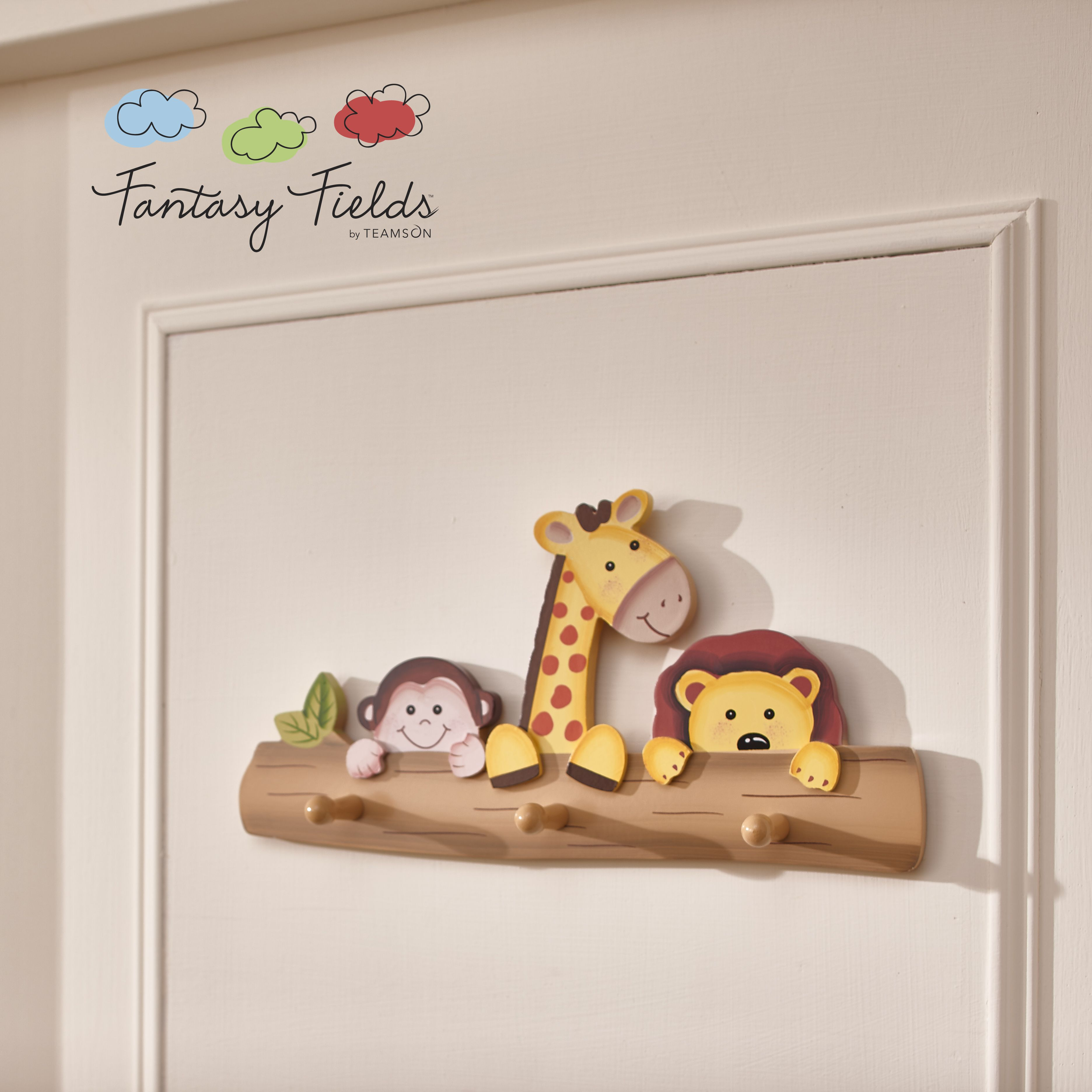 Fantasy Fields Kids Wooden Wall Hooks Coat Hanger Sunny Safari Toy Woodworking Crafts Kids Furniture Baby Crafts