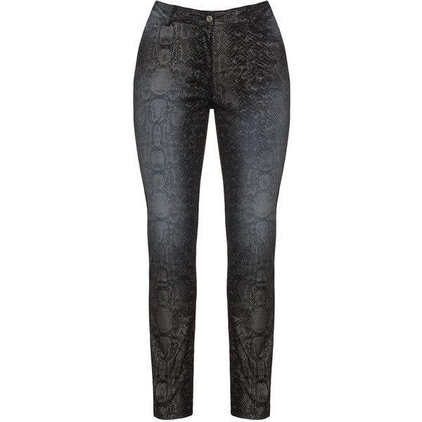 Aprico Black / Grey Plus Size Bootcut snake print jeans ($65) ❤ liked on Polyvore featuring jeans, black, plus size, boot cut jeans, plus size stretch jeans, bootcut jeans, grey jeans and super stretch jeans