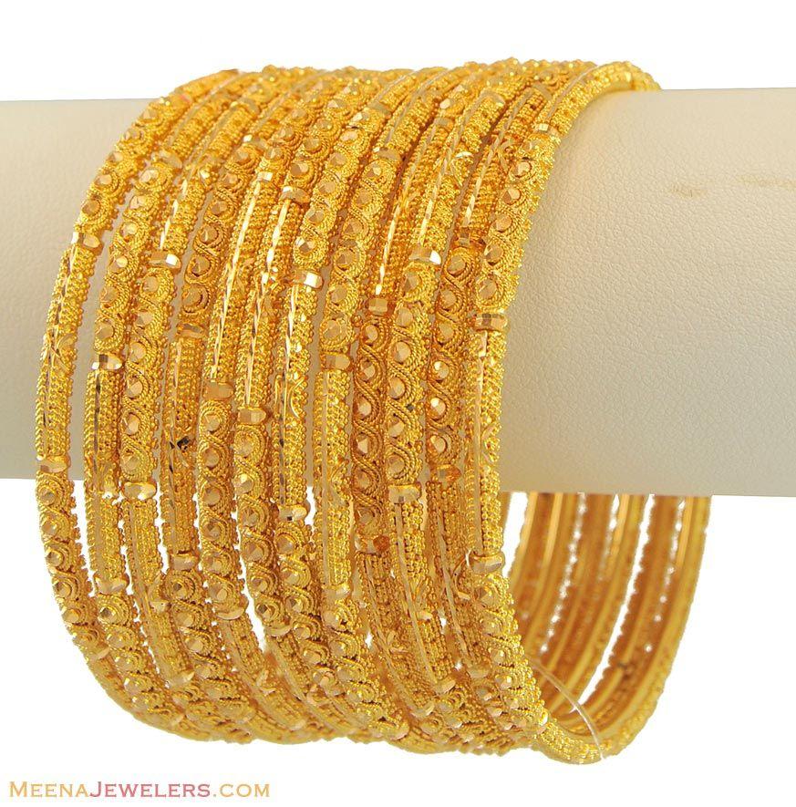 Gold Filigree Churis Set  BaSt10992 22k Yellow Fancy Bangles