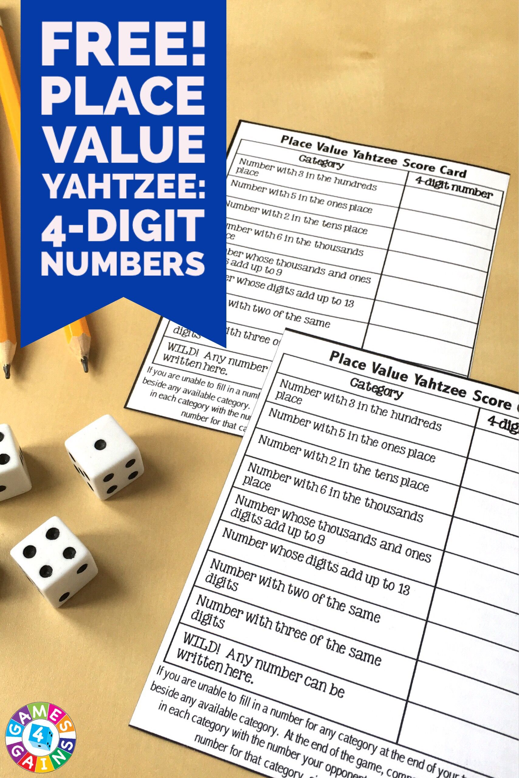 Score Some Points With Place Value Yahtzee With Images