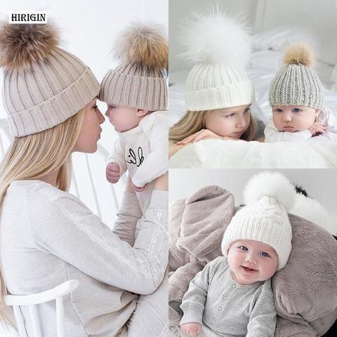 ad63b1f5fbd HIRIGIN 2017 New 2Pcs Mother Kid Baby Child Warm Winter Knit Beanie Fur Pom Hat  Crochet Ski Cap Cute