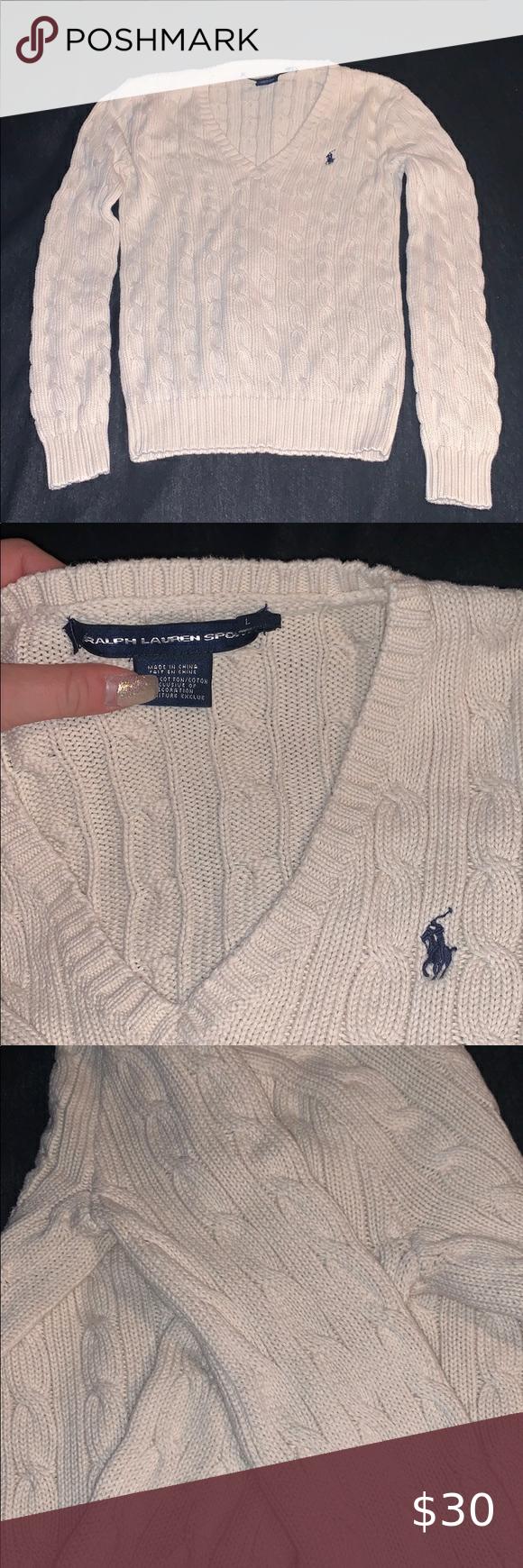 Photo of Ralph Lauren Sweater Beautiful Ralph Lauren cable sweater. Light cream color siz…