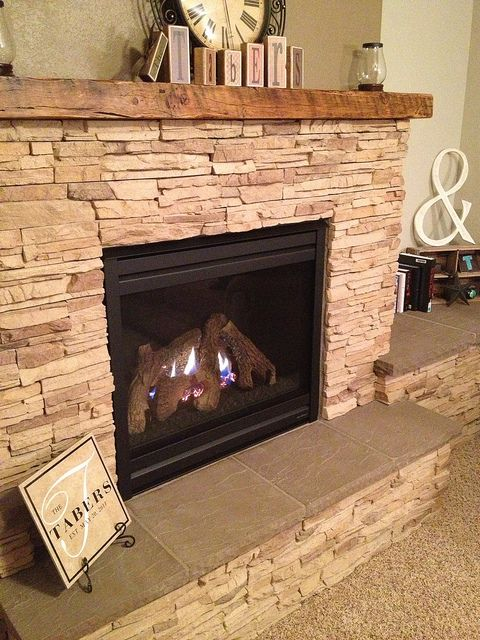 Stacked Stone Fireplace Surround fireplace dyi project | stone fireplaces, stone and hearths