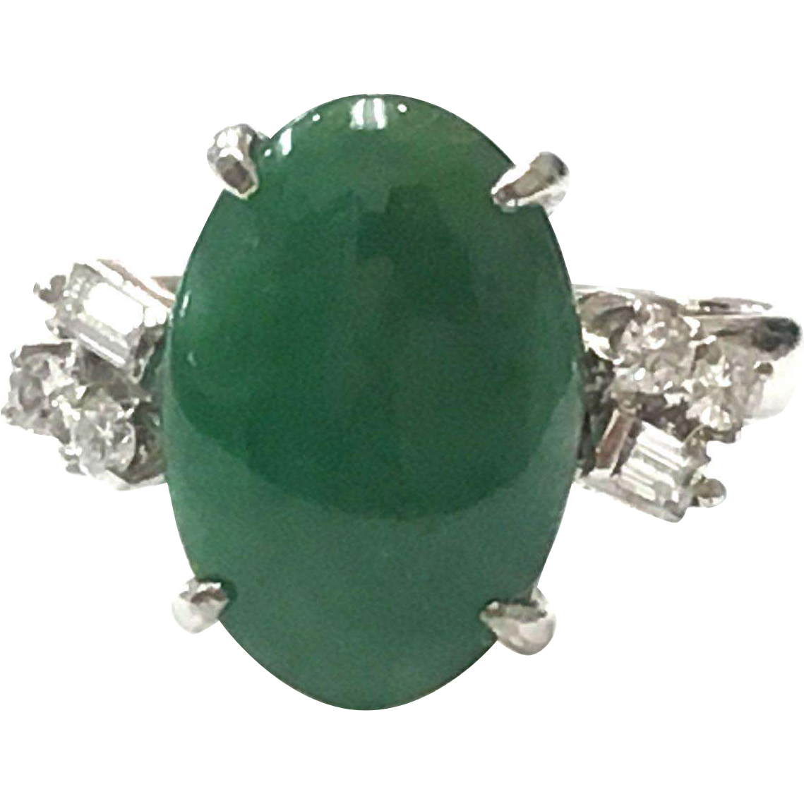 Vintage 14k White Gold Jade Cabochon and Diamond Ring
