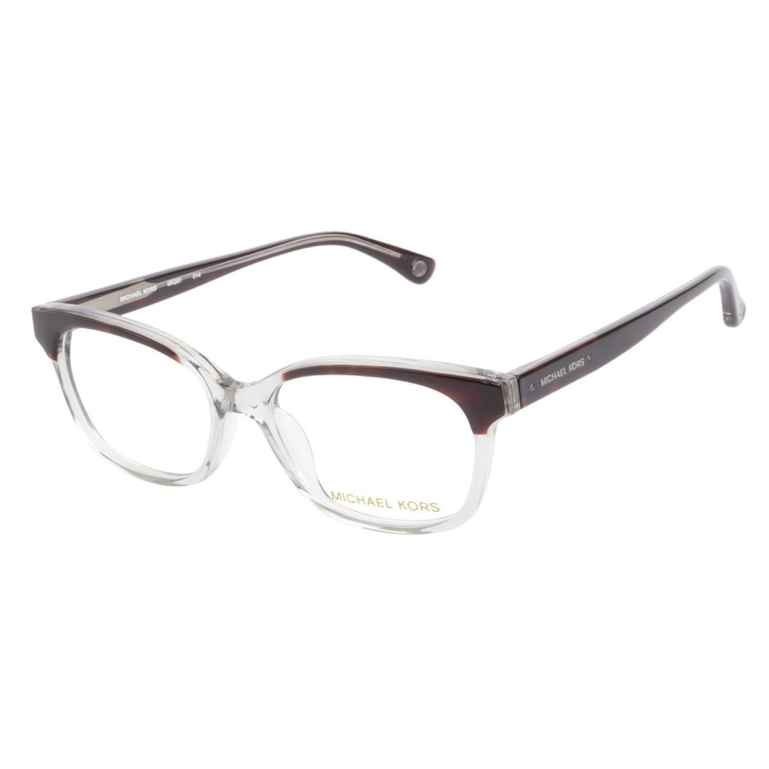 e3fa98b2e18 Michael Kors MK261 014 Smoke eyeglasses are fun and fashionable. This  cateye style frame has a transparent crystal grey finish with rich havana  highlighted ...