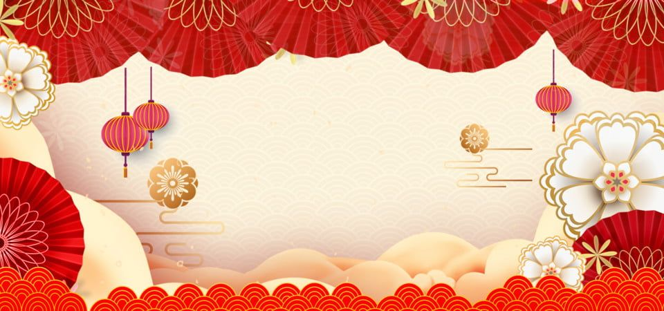 Traditional Lunar New Year Red Frame On Golden Yellow