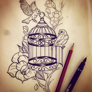 130dfab49 broken cage tattoo - Google Search Birdcage Drawing, Antique Tattoo, Antique  Bird Cages,