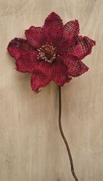 Primitive Burlap Flowers - Red Magnolia Stem