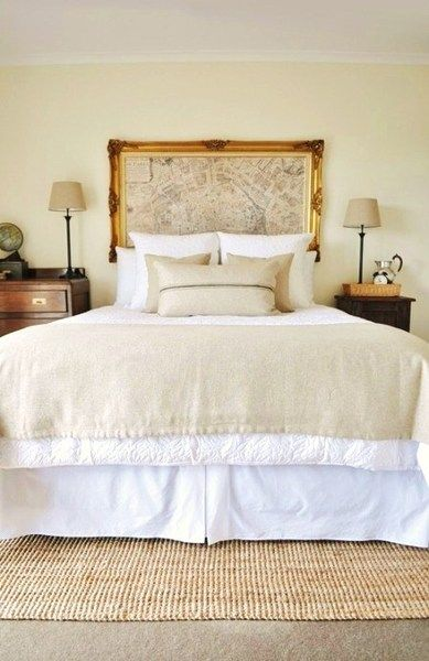 So clever! A framed map in lieu of a headboard. That works!  ZsaZsa Bellagio: House Fabulous