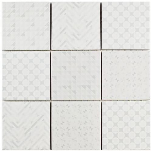 Show Details For 1163x1163 Geobright White Porcelain Mosaic Tile