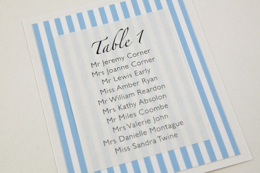 Brighton table card in Duck Egg Blue for a Wedding Table Plan