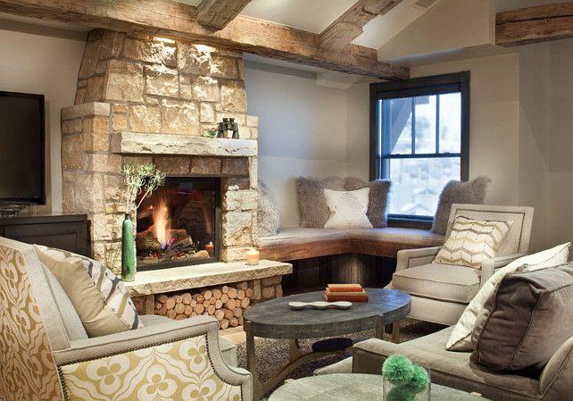 limestone fireplace. rustic home with limestone stone fireplace