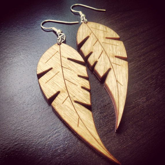 Large Wood Feather Earrings by WoodWearbyandrea on Etsy, $10.00