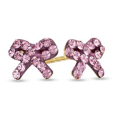 Child S Pink Swarovski Crystal Bow Stud Earrings In 14k