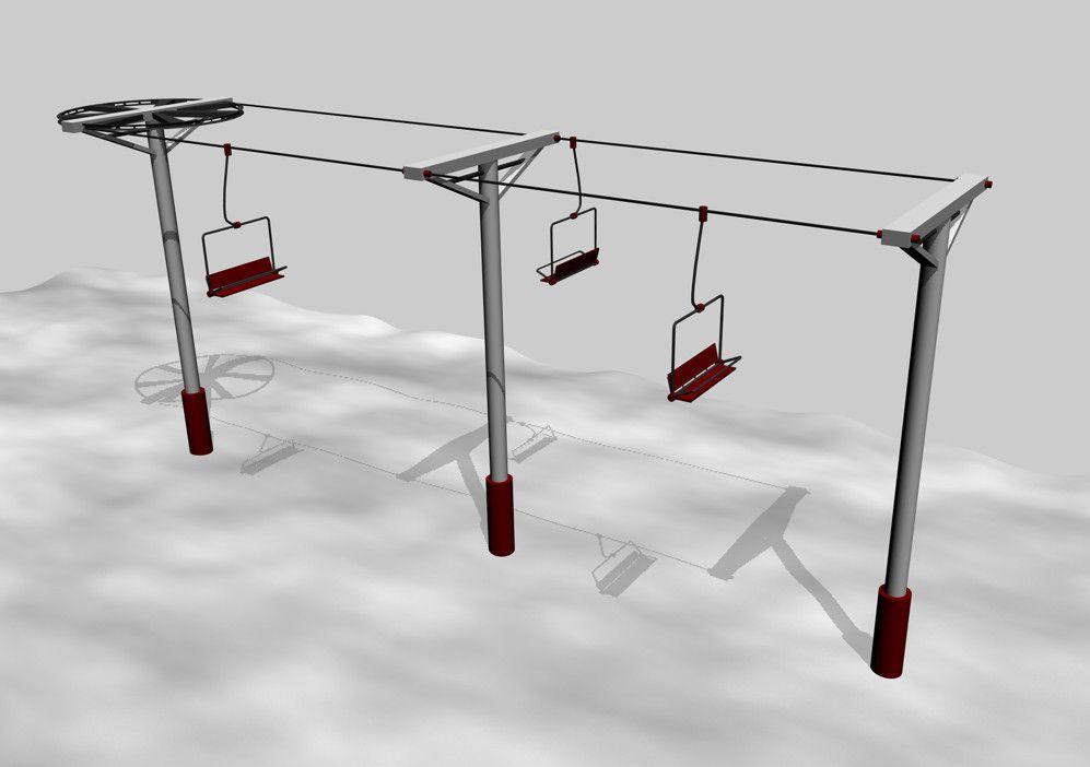 3d Model Simple Ski Lift Chair 3d Model Ski Lift Ski Lift Chair Lift Chairs
