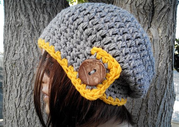 GRAY - YELLOW Womens hat - chunky knit Slouchy HAT Beanie Slouch Hat Fall Winter Accessories Beanie Autumn Christmas Fashion