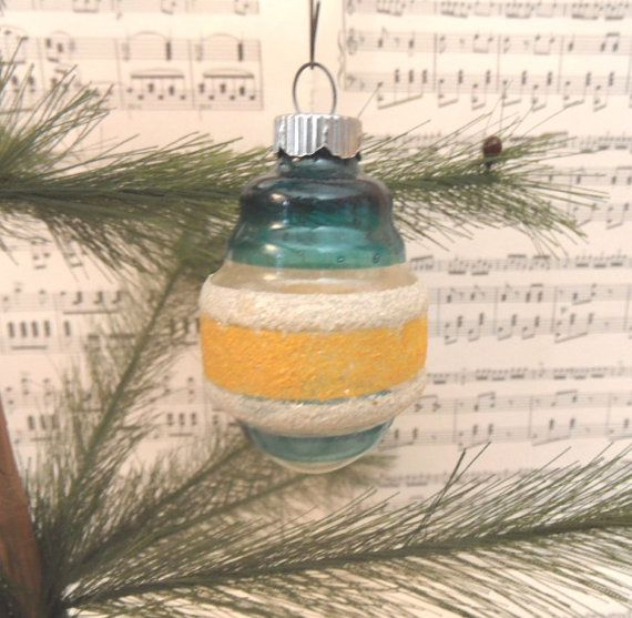Blue Ornaments Set of 5 Mini Glass Vintage Shiny Brite Distressed Glass Christmas Tree Retro Holiday Decor Clear Plastic Toppers