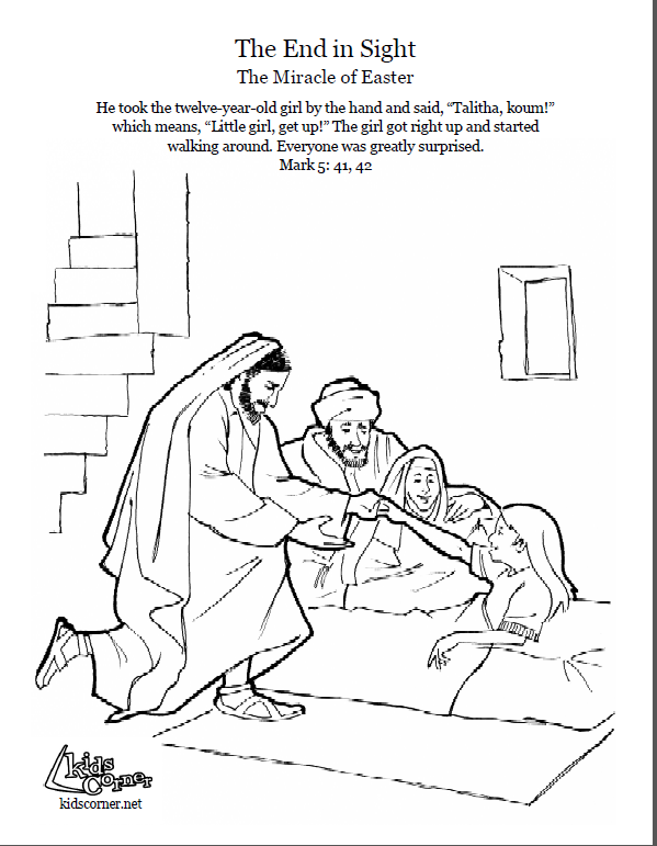 Jesus Heals Jairus Daughter Coloring Page Script And Bible Story