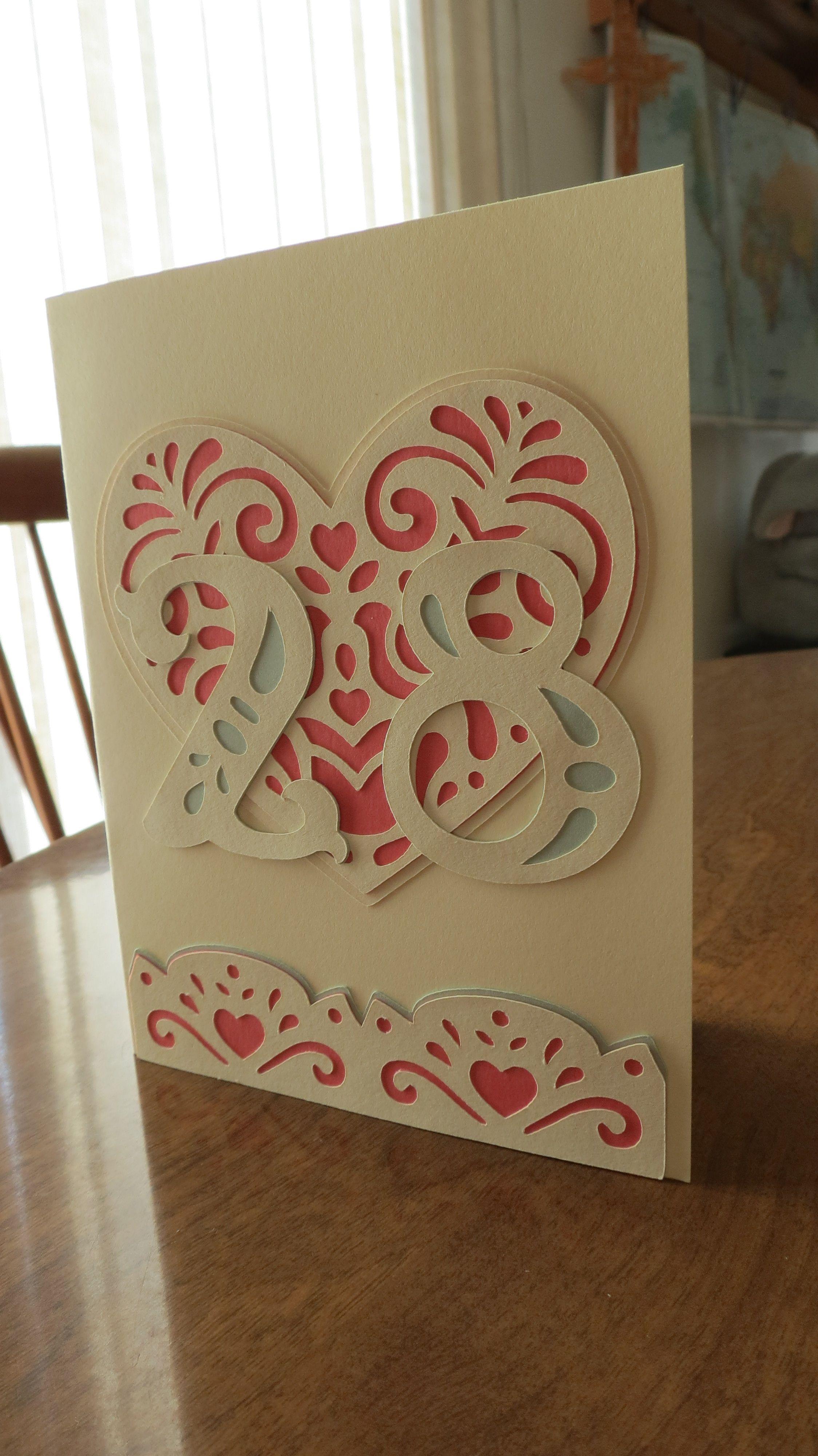 Anniversary Card Using Cricut Folk Art Festival Valentines Cards Valentines Art Cricut Explore Cards
