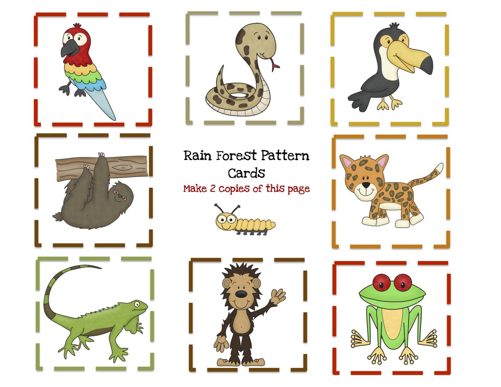 free printable rainforest pattern cards with 8 pattern templates to make