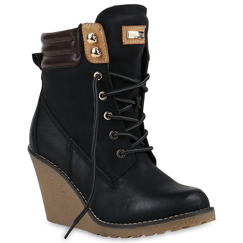 Keilstiefeletten Damen Metallic Stiefeletten Profil Sohle: Amazon.de:  Schuhe & Handtaschen