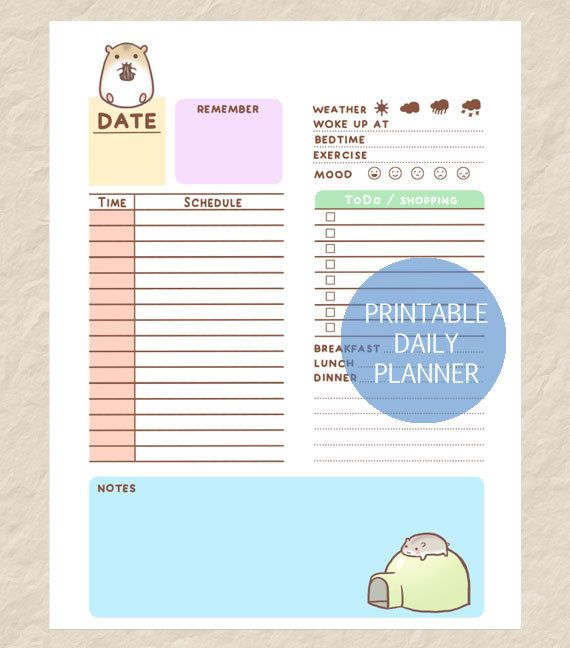 Printable Cute Hamster Daily Planner Cute Hamster Theme Day Etsy Daily Planner Pages Daily Planner Daily Planner Design