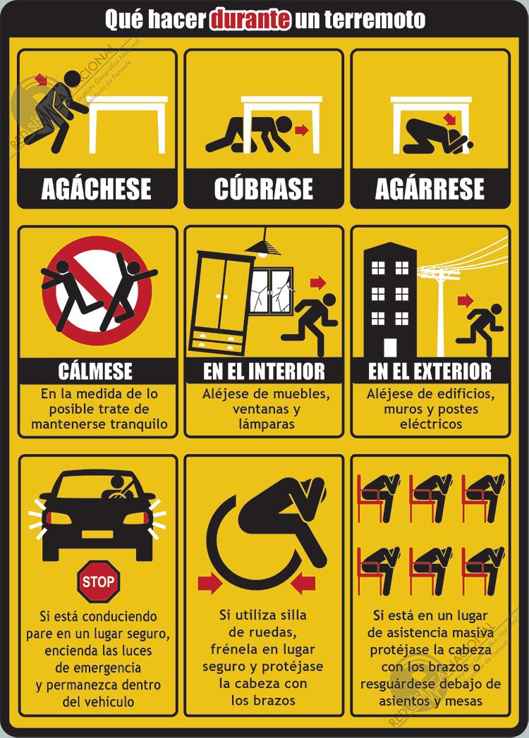 Que Hacer En Caso De Terremoto Carteles De Seguridad Salud Y Seguridad Preparación Para Emergencias