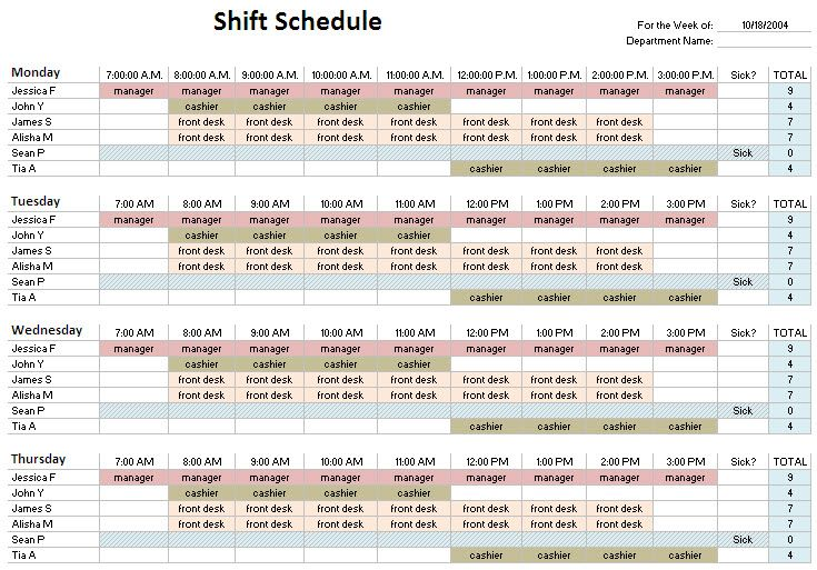 Shift Schedule Template HttpWwwQuotespinCom  Clinic
