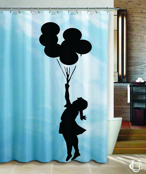Banksy Balloon Girl Vintage Cover Shower Curtain Bathroom
