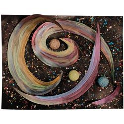 United Art and Education Art Project:  Create your own galaxy with glitter glue that resembles stars!