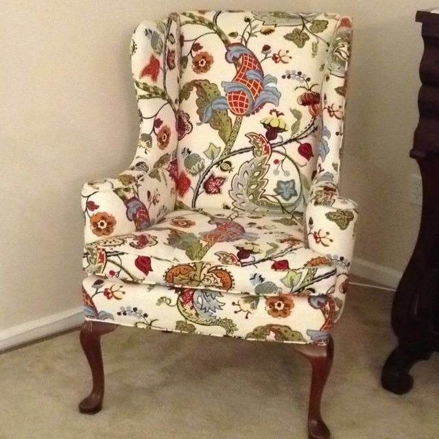 Wingback chair I found at an antique store and recovered
