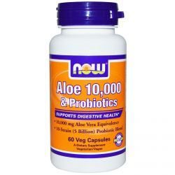 Now Foods, Aloe 10,000 & Probiotics, 60 Veggie Caps, Diet Suplements 蛇