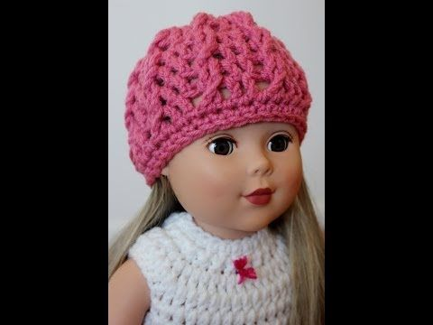 Crochet American Girl Doll Hat Twisted Cable Beanie - Right Hand ...