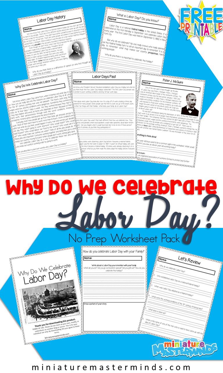 Why Do We Celebrate Labor Day? Printable No Prep Worksheet Pack   Labor day  history [ 1280 x 768 Pixel ]
