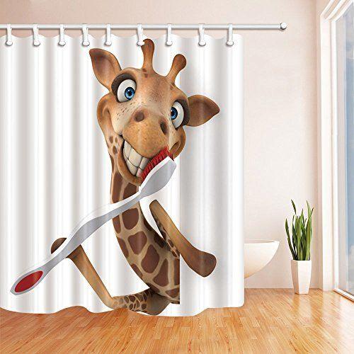 NYMB 3D Digital Printing Giraffe Brushing Teeth Kids Shower Curtain ...