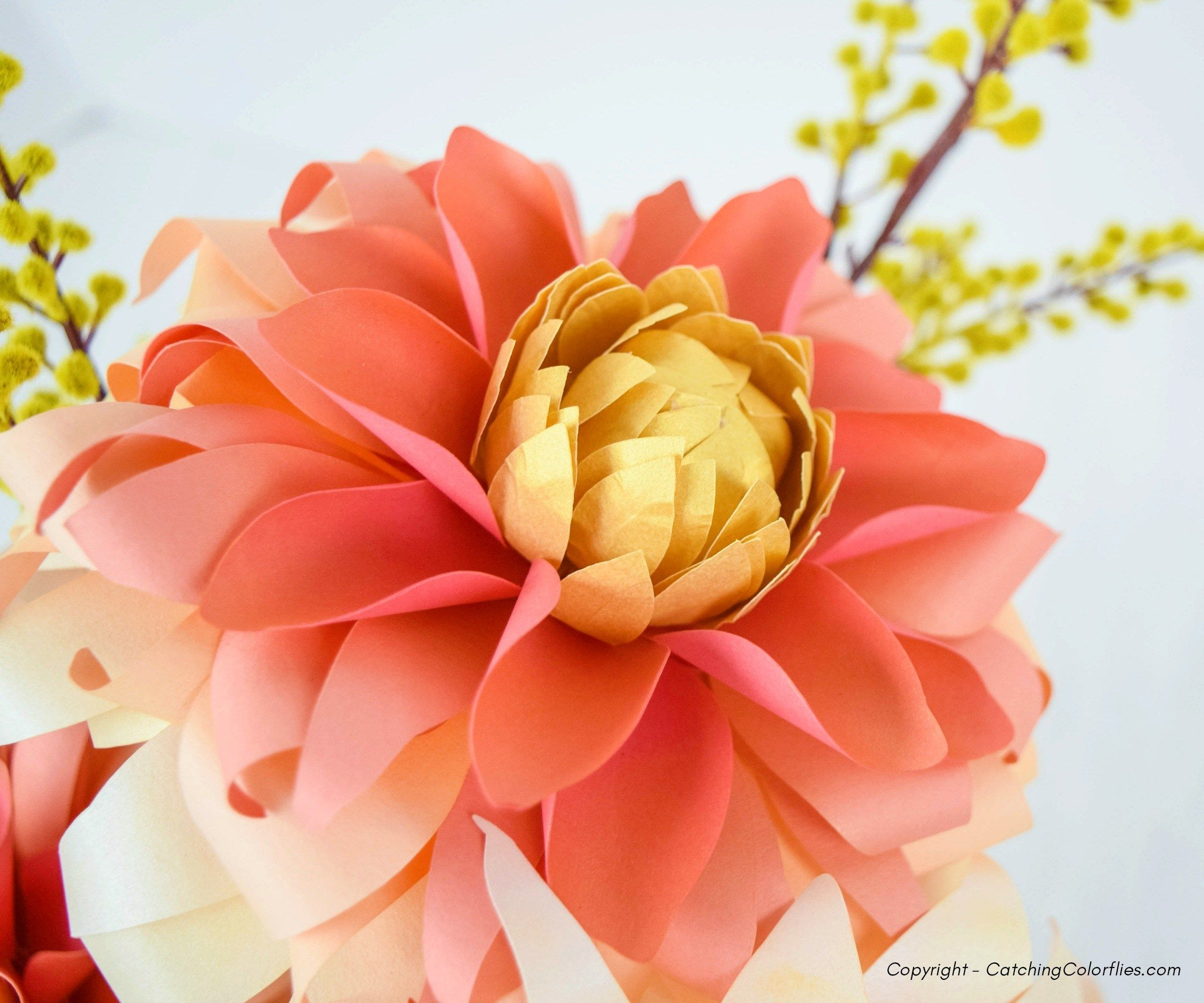 Dahlia Paper Flowers Paper Flowers Flower Template Paper