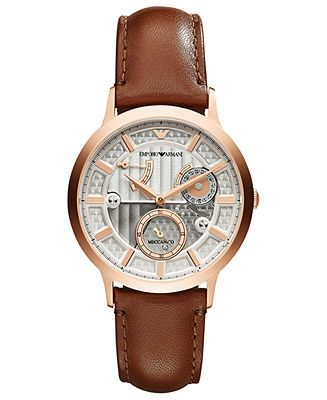 Emporio Armani Watch, Men's Automatic Meccanico Brown Leather Strap 43mm AR4662 - Men's Watches - Jewelry  Watches - Macy's