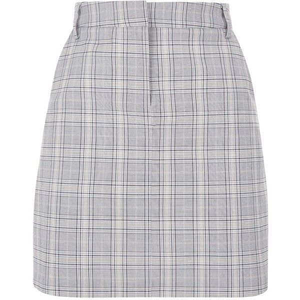 4c24fcf3d05 Light Grey Check Skirt ( 28) ❤ liked on Polyvore featuring skirts ...