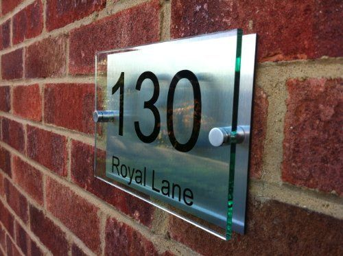 house number sign plaque brushed aluminium acrylicgos03n