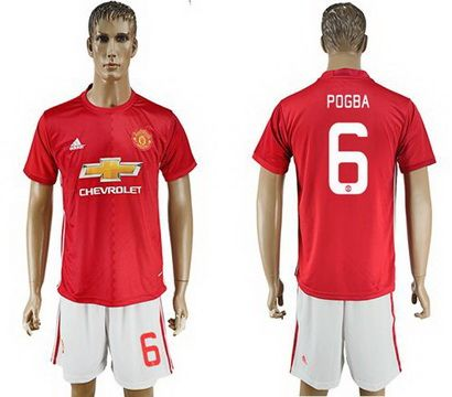 2017-2018 Manchester United #6 Pogba Home League Soccer Club Jersey