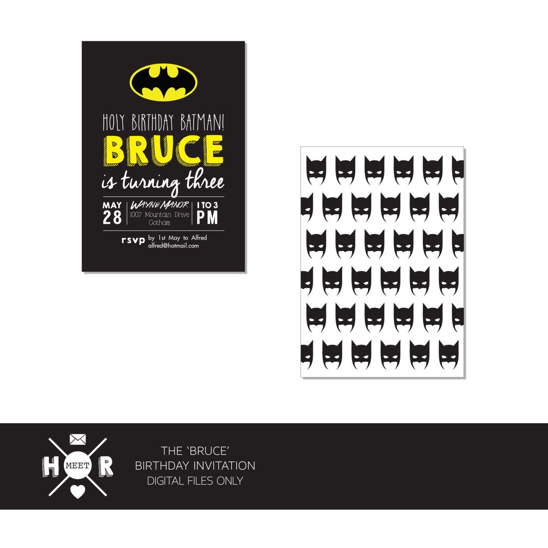 The \'Bruce\' aka Batman Birthday Invitation by hudsonmeetrose on Etsy ...