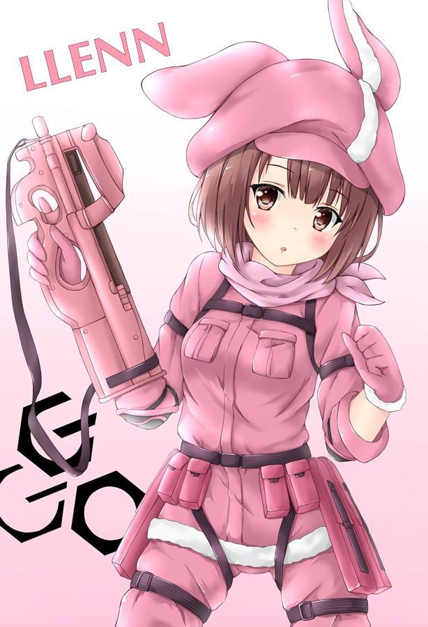 Llenn Sword Art Online Ggo Personagens De Anime Sword Art Online Menina Com Armas