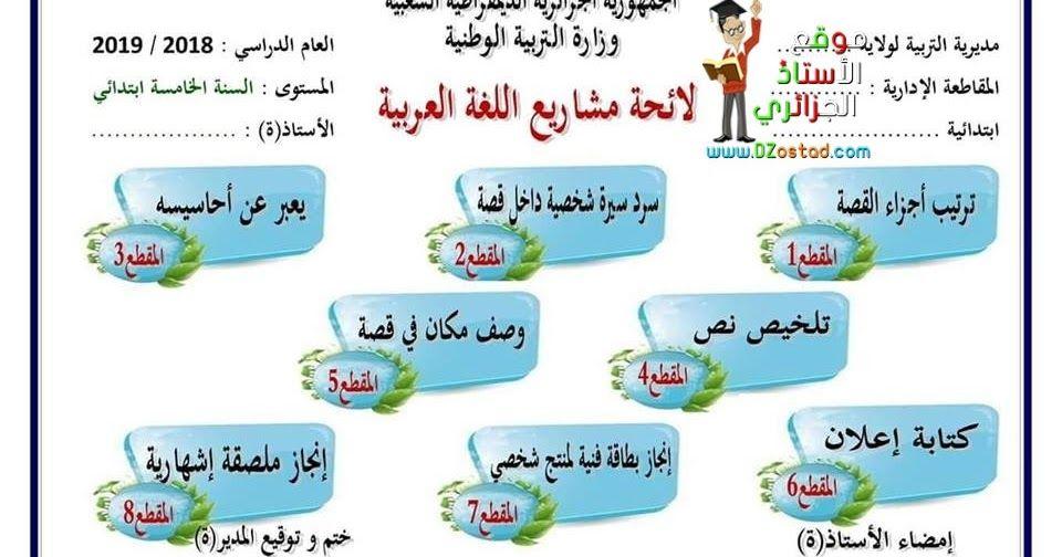 برنامج مشاريع اللغة العربية للسنة الخامسة ابتدائي الجيل الثاني Generation Projects