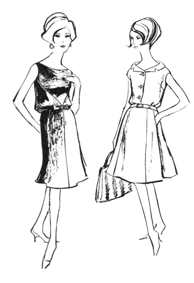 Line Art Fashion : S colouring in fashion line drawings for sewing