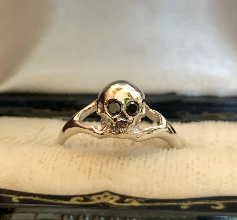 Memento Mori Skull Ring 14K White Gold Skull Ring Diamond Eyes | Etsy