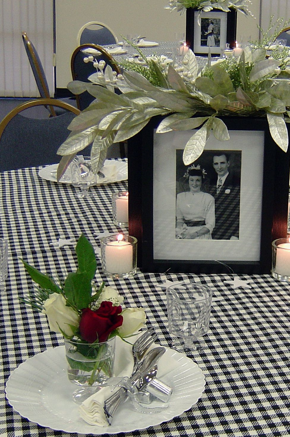 Mom 39 S 80th Birthday Party With 4 Sided Photo Centerpieces