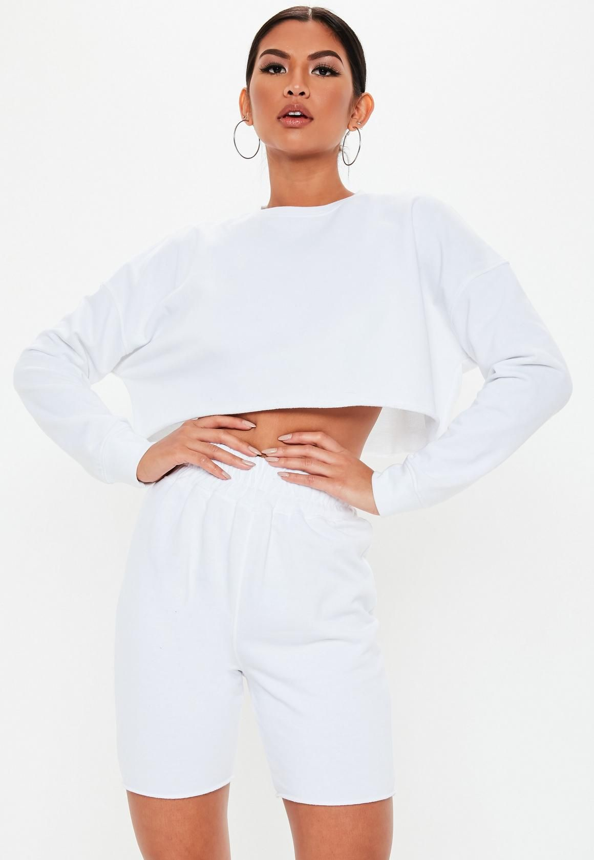 3094e2651d Missguided - White Cropped Sweatshirt and Cycling Short Set in 2019 ...