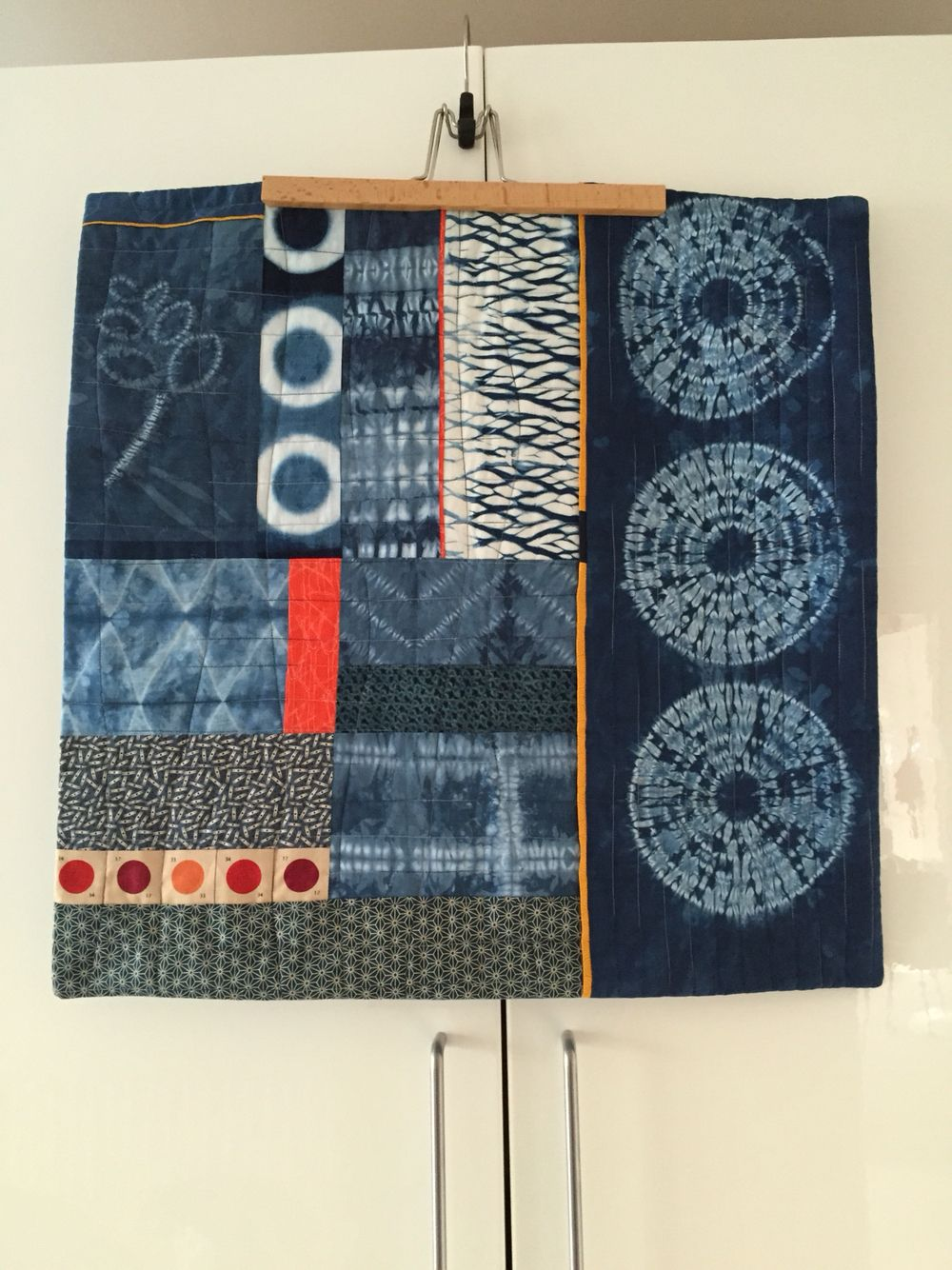 Wall hanging, with hand dyed indigo from a Janice Gunner workshop - summer 2015